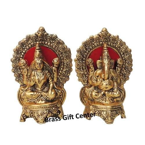 Showpiece Laxmi Ganesh Pair With Gold Finish - 7 Inch AS361 G
