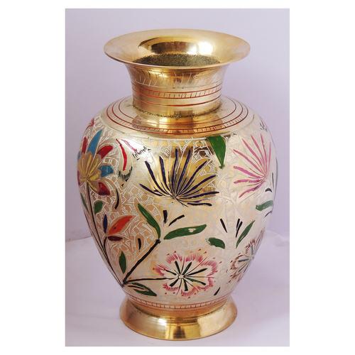 Brass Flower Vase pot with Handwork - 6*6*8.6 Inch  (F661 H)