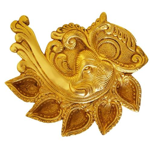 Elephant Face Conch Shape Deepak of Brass - Table diya - Rare showpiece to gift and Religious use - 7 Inch BS1187 A