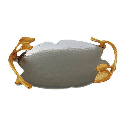 Decorative Platter With Golden and Nickel Finish For Diwali Gift - 12 Inch A317312
