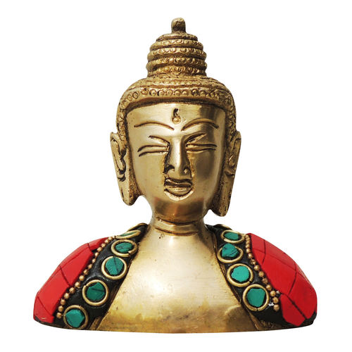 Brass Buddha Head studded with Turquoise Coral stone work - 3*1*3.5 Inch  (BS840 B)