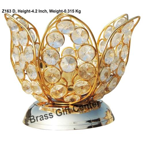 Brass Kamal Diya Deepak with Crystal Beads - 5.3*5.3*4.2 inch  (Z163 D)