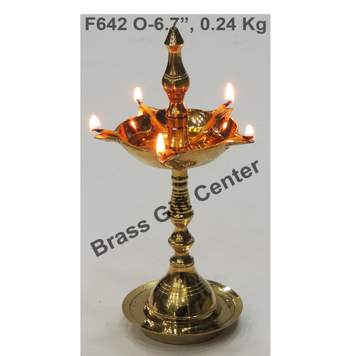 Brass Kerala Fancy Deepak Diya - 6.7 Inch  F642 O
