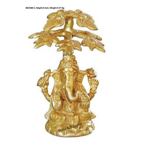 Brass Ganesh under tree Statue Murti idol 370 gm- 3.524 inch  BS1046 C