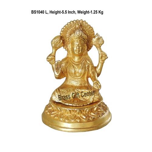 Brass Laxmi  StatueMurtiidol - 5.5 inch BS1040 L