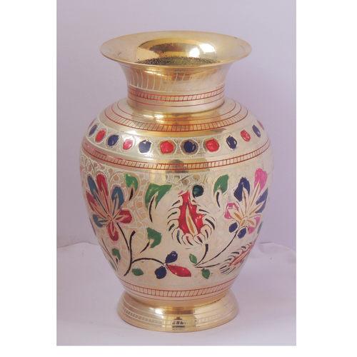 Brass Flower Vase pot with Handwork - 5.2*5.2*7.4 Inch  (F661 G)