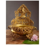 Floating candle pot Brass Metal made - Home Decor Lord Ganesha figure Urli BS1141 A