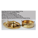 Brass Puja pooja Thali and Flower Basket With Bell Roli Katori Dhoop/agarbatti Holder A Panchamrut Set With Spoon  (Z323 A)