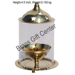 Brass Akand Diya Deepak With Chimney- 3.3  Inch (Z014/5)