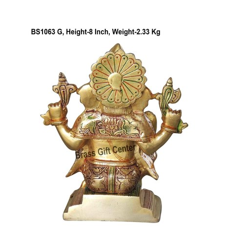 Brass Ganesh Statue Murti Idol in MultiColour Lacuquer Finish - 8 inch BS1063 G