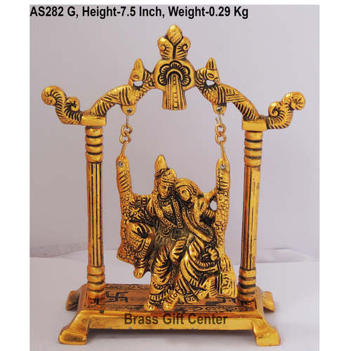 Radha Krishna jhaula In Golden Antique Finish - 5.6*2.5*7.5 Inch