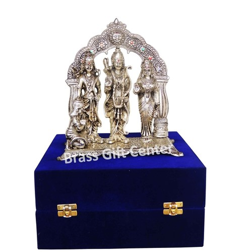 Ram Dharbar in Silver Antique finsih with Blue Velvet Box - 9.5 inch AS229 S
