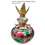Brass Mangal Kalash Set Sheet 10 Liter_1.8 Kg - 11.8x11.8x16.6 inch  Z417 D