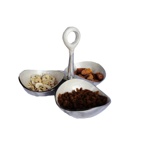 3 Pot Dry Fruit Holder With Handle - 9.5 Inch A3070