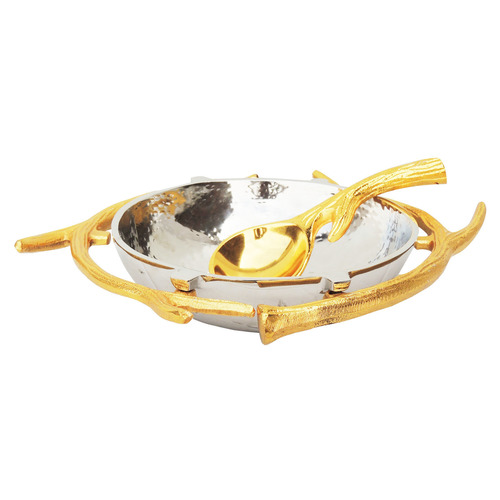 Aluminium Metal Bowl with Spoon in Nickel and Gold Finish - 1010 Inch  A324710