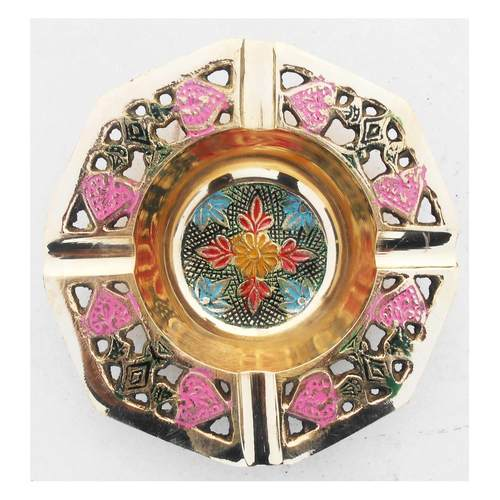 Brass Ash Tray With Multicloured Finsih -  5 Inch Z382 B