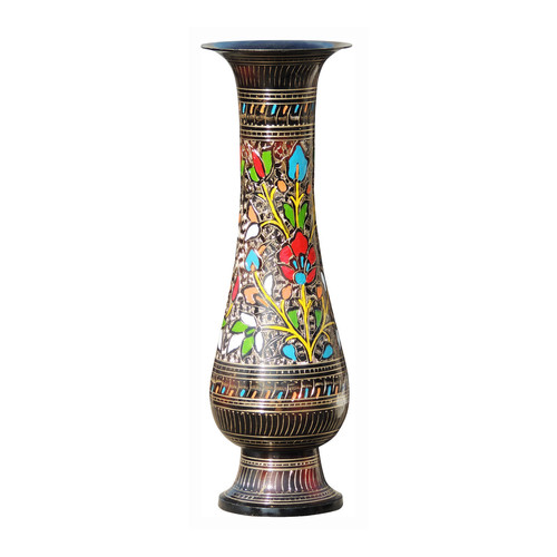 Brass Coloured Flower Vase with handwork - 4.5*4.5*13 Inch  (F397 E)