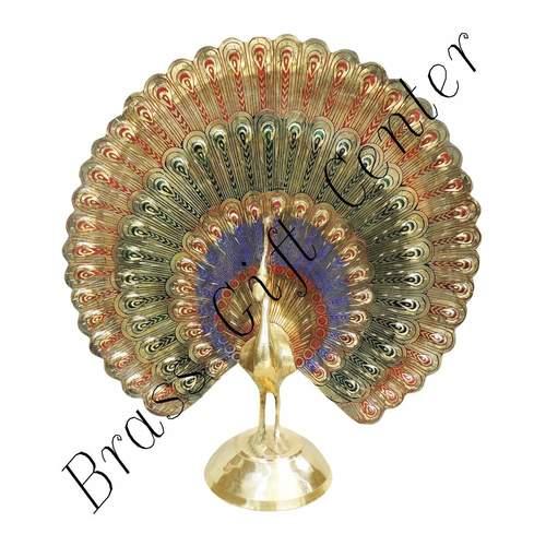 Brass Handicraft Showpiece Peacock Statue - 9.5 Inch F375 A