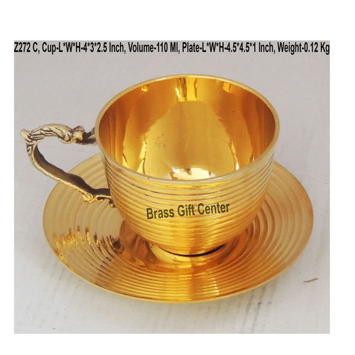 Brass Cup And Saucer Set - 110 Ml  Z272 C