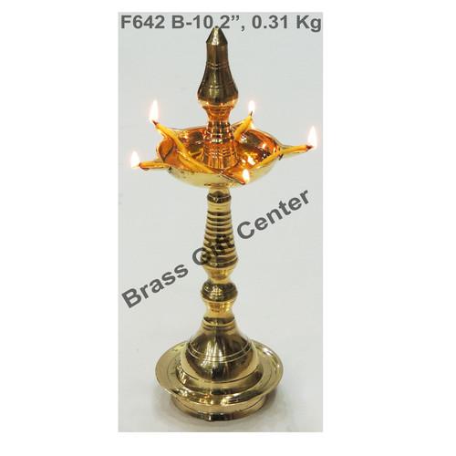 Brass Kerala Fancy Deepak Diya - 10.2 Inch  (F642 B)