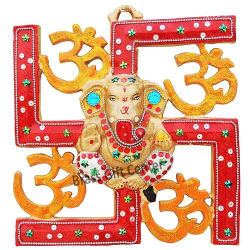 Wall hanging Satiya with Ganesh - 11.5 inch (AS249 C)