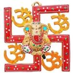 Wall hanging Satiya with Ganesh - 11.5 inch (AS249 C)