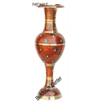 Brass Coloured Flower Vase with handwork - 8*8*24.5 Inch  (F407 A)