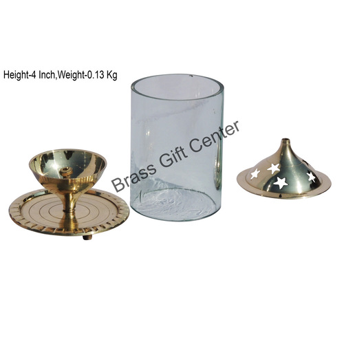 Brass Akand Diya Deepak With Chimney- 2.7 Inch (Z014/4)
