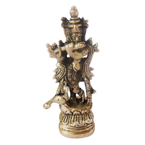 Brass Showpiece Krishna Statue - 4.1 Inch BS1136 C