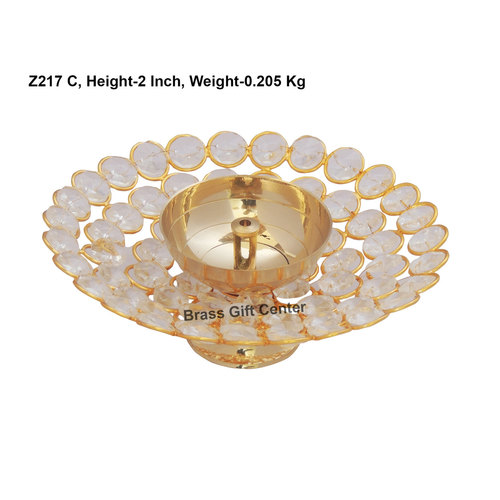 Brass Deepak With Crystal beads desing - 6 inch  Z217 C