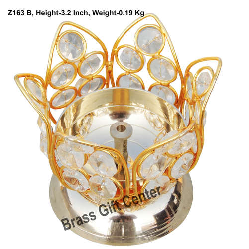 Brass Kamal Diya Deepak with Crystal Beads - 3.8*3.8*3.2 inch  (Z163 B)