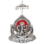 Ganesh Ji With Riddhi Siddhi Gold Decorative Showpiece-8.5 Inch