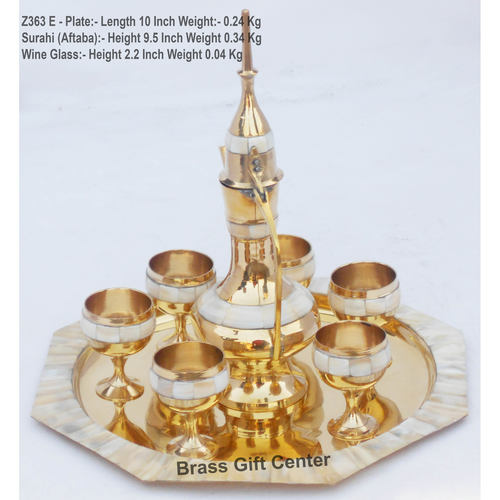 Brass Wine Set With Seep Work 6 Glass 1 Surahi 1 Tray Miniature Toy For Children PlayingZ363 E