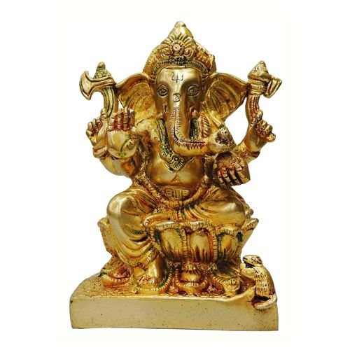 Brass Ganesh Statue In Multicolour Lacquer Finish - 5*3.3*7 Inch  (BS667)