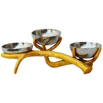 Aluminium Bowl with Stand In Gold And Nickel Finish - 129 Inch  A319112
