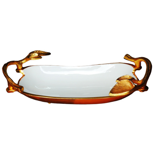 Aluminium Metal Tray Serving Platter with Gold and White Finish- 138 Inch  A317913