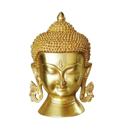 Brass Buddha Head - 6x3.4x8.5 Inch  (BS1029 D)