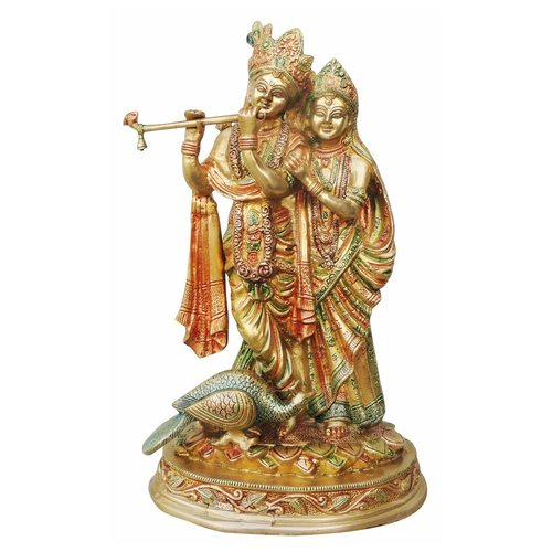 Brass Radha Krishna Statue Murti In Multicolour Lacquer Finish - 15 Inch  (BS399 B)