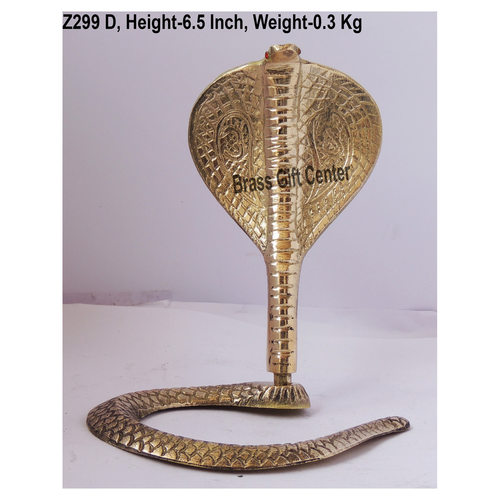 Brass Snake Saap For Shivling With Brass Finish, Height 6.5 Inch Z299 D