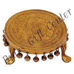Brass Round Shape Chowki For God Idol - 7 Inch BS697 D