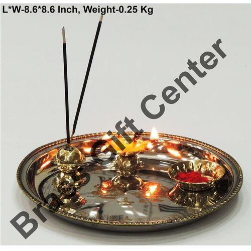 Brass And Steel Pooja Puja Thali - 8.6 Inch (Z150 C)