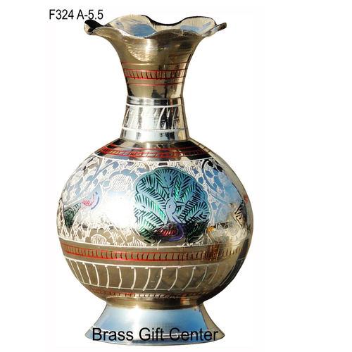 Brass Coloured Flower Vase with handwork -3.5*3.5*5.5 Inch  (F324 A)