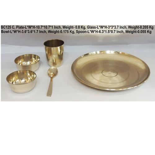 Bronze Kansa 5 PCs Thali  Set - 10.710.7 Inch  BC125 C