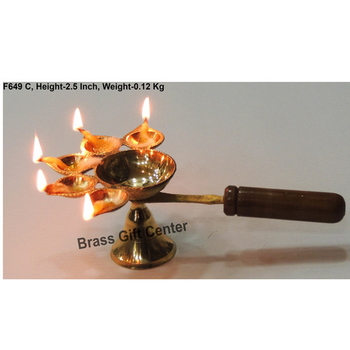 Brass Panch Arti Deepak Diya With Wooden Handle - 7.5*4.8*2.5 Inch  (F649 C)