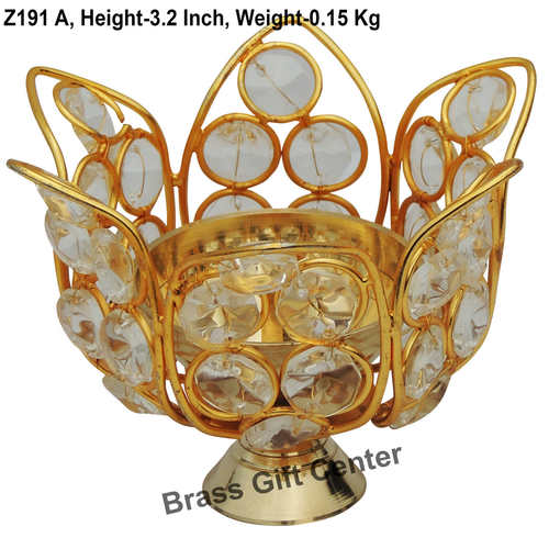 Brass Diya Deepak with Crystal Beads No. 1 - 4*4*3.2 inch  (Z191 A)