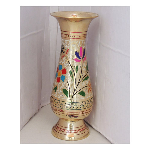 Brass Flower Vase pot with Handwork - 3*3*7.4 Inch  (F659 E)