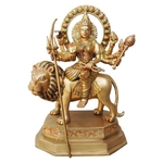 Brass Durga Ji Statue/Murti/Idol With Multicolour Lacquer Finish-15.8 Inch  (BS617)