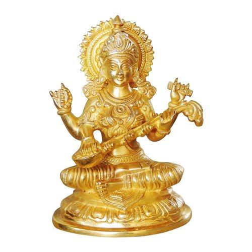 Brass Saraswati Statue In Super fine Finish 2 Kg - 8 inch  (BS1025 S)