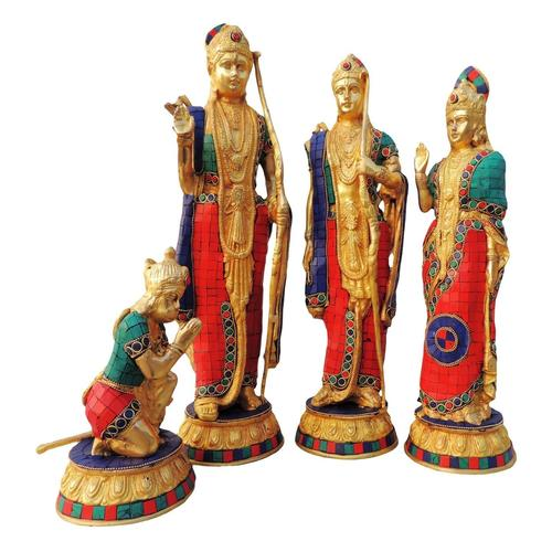 Brass Ram Dharbar Statue Idol Murti studded  with Turquoise  Coral  stone work - 18*4.5*17.5 Inch  (BS594 A)