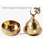 Bras Oil Lamp Deepak With Om Height 4.2 Inch Z401 B